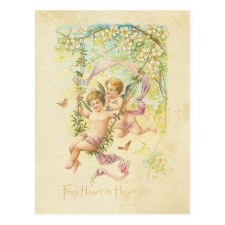 ヴィンテージのバレンタインデーのかわいい天使の木の花 ポストカード