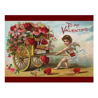 ヴィンテージのバレンタインデーの天使、愛ハートのカート ポストカード