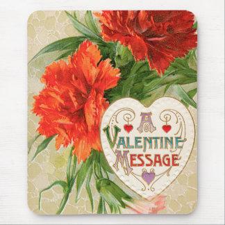 ヴィンテージのバレンタインデーメッセージ、カーネーションの花 マウスパッド