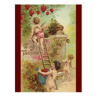 ヴィンテージのバレンタインデー、かわいい天使の上昇の梯子 ポストカード