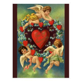 ヴィンテージのバレンタインデー、ビクトリアンな天使のハート ポストカード