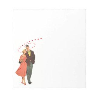 ヴィンテージのバレンタインデー、ロマンチックな浮遊ハート ノートパッド