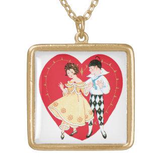 ヴィンテージのバレンタインデー、道化師を持つかわいい女の子 ゴールドプレートネックレス