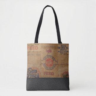 ヴィンテージのバーラップ袋および革-トートバック トートバッグ