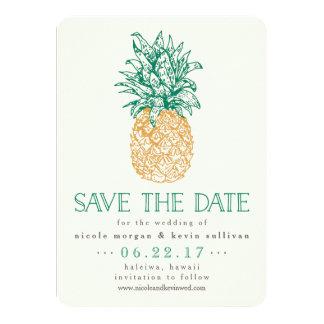 ヴィンテージのパイナップル保存日付 カード
