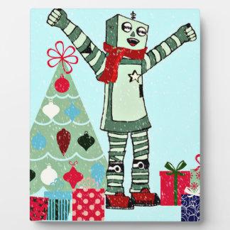 ヴィンテージのパステル調の休日のロボット男の子、木、及びギフト フォトプラーク