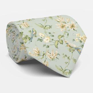 ヴィンテージのパステル調の白い花の青の鳥のタイ1 ネックウェアー
