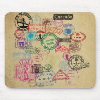 ヴィンテージのパスポートのスタンプ マウスパッド