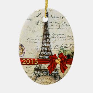 ヴィンテージのパリのクリスマスのオーナメントのカスタムな上品2015年 セラミックオーナメント