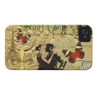 ヴィンテージのパリのタンゴの郵便はがき Case-Mate iPhone 4 ケース
