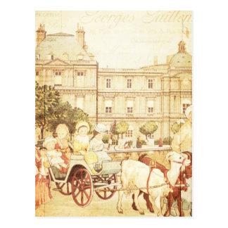 ヴィンテージのパリのビクトリアンな子供の物語の本のコラージュ ポストカード