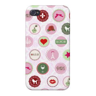 ヴィンテージのパリのピンクのぼろぼろのシックなパターン iPhone 4/4S ケース