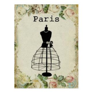 ヴィンテージのパリのファッションの服の型枠 ポストカード