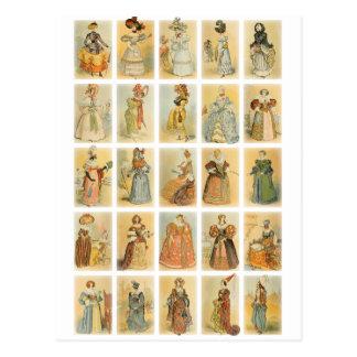 ヴィンテージのパリのファッション(19世紀への中間の年齢 ポストカード