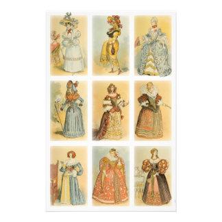 ヴィンテージのパリのファッション(19世紀への中間の年齢 便箋