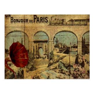 ヴィンテージのパリのプリント ポストカード