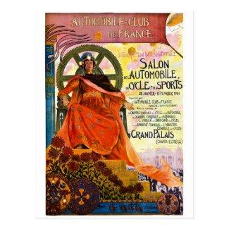 ヴィンテージのパリのモーターショー広告 ポストカード