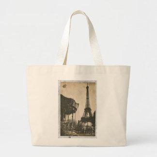 ヴィンテージのパリの郵便はがき、エッフェル塔 ラージトートバッグ