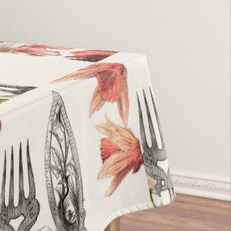 ヴィンテージのパリの食事用器具類のケシのラッパスイセン テーブルクロス