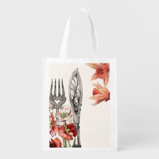ヴィンテージのパリの食事用器具類のケシのラッパスイセン リユーザブルバッグ