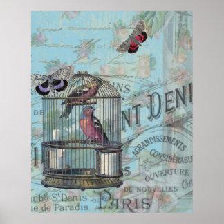 ヴィンテージのパリの鳥かごの蝶decoupageのスタイル ポスター