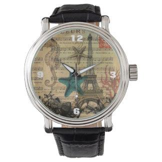 ヴィンテージのパリエッフェル塔のビーチの貝殻 腕時計