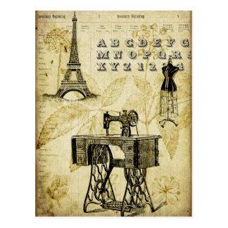 ヴィンテージのパリエッフェル塔の服の型枠の郵便はがき ポストカード