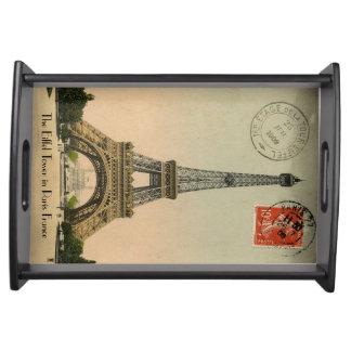 ヴィンテージのパリエッフェル塔の郵便はがき トレー