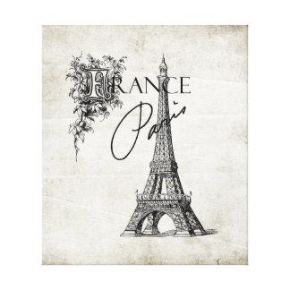ヴィンテージのパリフランスエッフェル塔の伸ばされたキャンバス キャンバスプリント