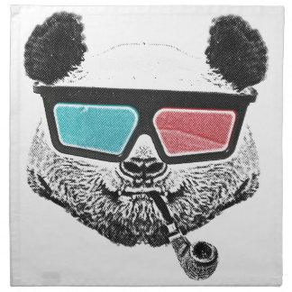 ヴィンテージのパンダの3Dガラス ナプキンクロス