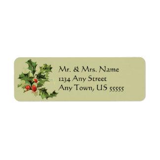 ヴィンテージのヒイラギのクリスマスの休日の宛名ラベル ラベル