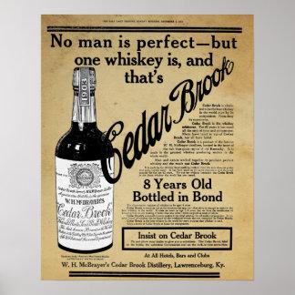ヴィンテージのヒマラヤスギの小川のウィスキーのバーのプリントの広告 プリント