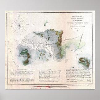 ヴィンテージのヒマラヤスギの鍵の島のフロリダの海岸 ポスター