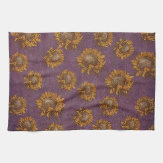 ヴィンテージのヒマワリのプラム紫色の素朴なヒマワリ キッチンタオル