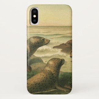 ヴィンテージのヒョウのシール、海洋生物の水生動物 iPhone X ケース