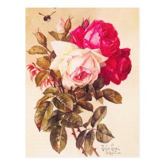 ヴィンテージのビクトリアンでロマンチックで赤く、ピンクのバラ ポストカード