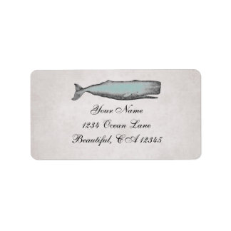 ヴィンテージのビクトリアンなクジラのビーチの住所 ラベル