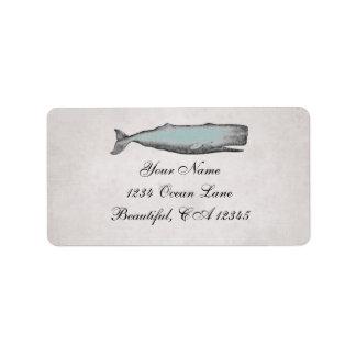 ヴィンテージのビクトリアンなクジラのビーチの住所 宛名ラベル