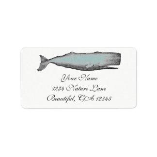 ヴィンテージのビクトリアンなクジラの黒、白いビーチの住所 ラベル