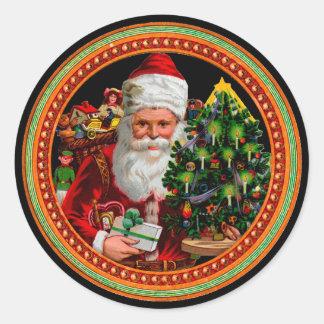 ヴィンテージのビクトリアンなクリスマスのサンタクロースのステッカー ラウンドシール