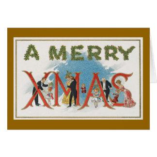 ヴィンテージのビクトリアンなクリスマスの挨拶状 カード