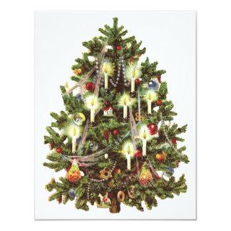 ヴィンテージのビクトリアンなクリスマスツリーのパーティの招待状 カード