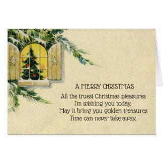 ヴィンテージのビクトリアンなクリスマスツリーの休日の窓 カード