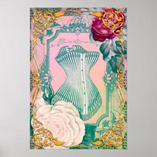 ヴィンテージのビクトリアンなコルセットおよびローズピンクおよび青 ポスター
