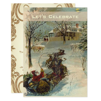 ヴィンテージのビクトリアンなサンタの休日のクリスマス・パーティ 12.7 X 17.8 インビテーションカード