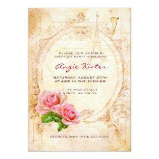 ヴィンテージのビクトリアンなバラの誕生日のパーティの招待状 12.7 X 17.8 インビテーションカード