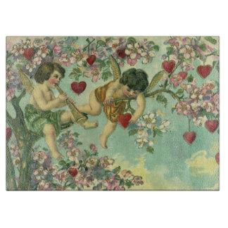 ヴィンテージのビクトリアンなバレンタインデーのキューピッドのハートの木 カッティングボード