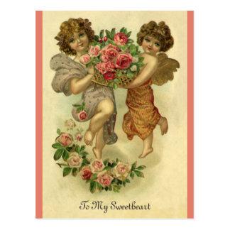 ヴィンテージのビクトリアンなバレンタインデー、天使のバラ ポストカード