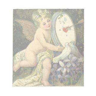 ヴィンテージのビクトリアンなバレンタインデー、天使愛鳥 ノートパッド