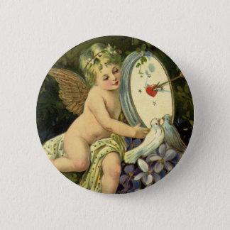 ヴィンテージのビクトリアンなバレンタインデー、天使愛鳥 5.7CM 丸型バッジ